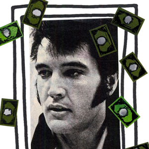 oyeah,marion rousseau,illustration,frame,cadre,elvis presley,king,billet,dollars,banknotes,bucks,money,argent
