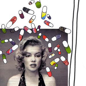 oyeah,marion rousseau,illustration,frame,cadre,cinema,marilyn monroe,pills,medicament,drugs,starlette,movies