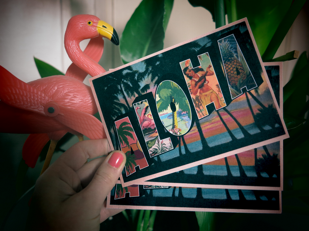 oyeah marion rousseau pop market carte promotionnelle card hawaii palmtree flamingo aloha tropical pineapple ananas