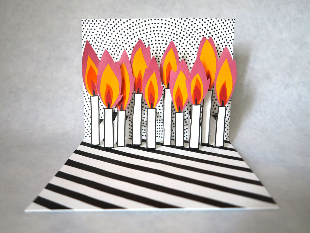 oyeah,marion rousseau,pop-up,carte,anniversaire,birthday card,bougies,candles,diy,popup,10,years,ans