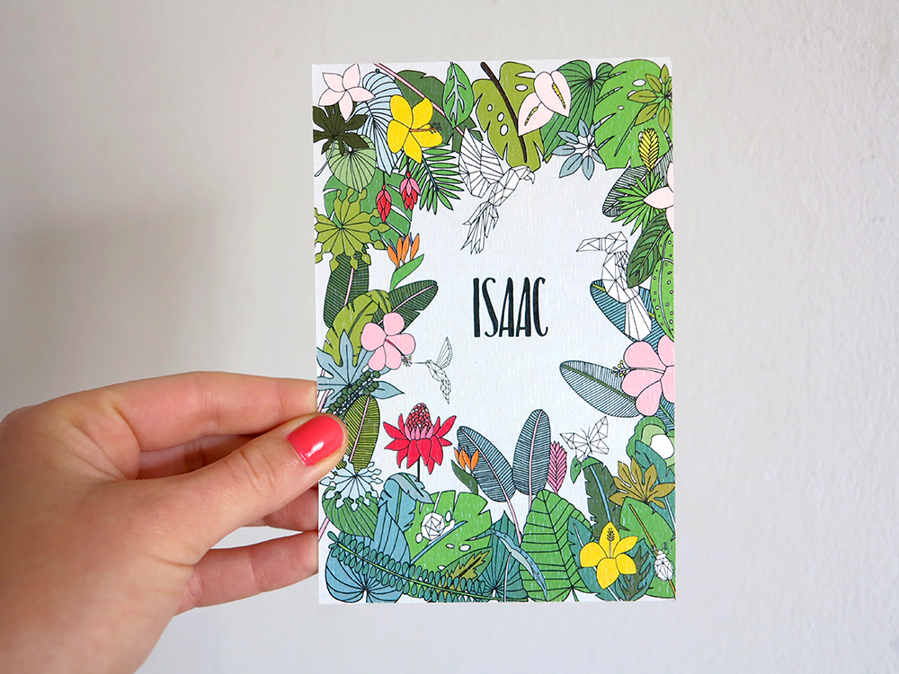 oyeah,marion rousseau,carte,card,Isaac,bébé,garcon,baby boy,naissance,faire-part,birth announcement,flower,jungle,fleurs,tropical,its a boy,monstera,feuilles,leaves,origami,tropicool,garden,palmier,palmtree,palms,lush