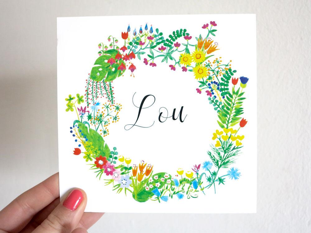oyeah,marion rousseau,carte,card,Lou,bébé,fille,baby girl,naissance,faire-part,birth announcement,flower,crown,wreath,couronne,fleurs,aquarelle,watercolour,its a girl,printemps,spring,garden