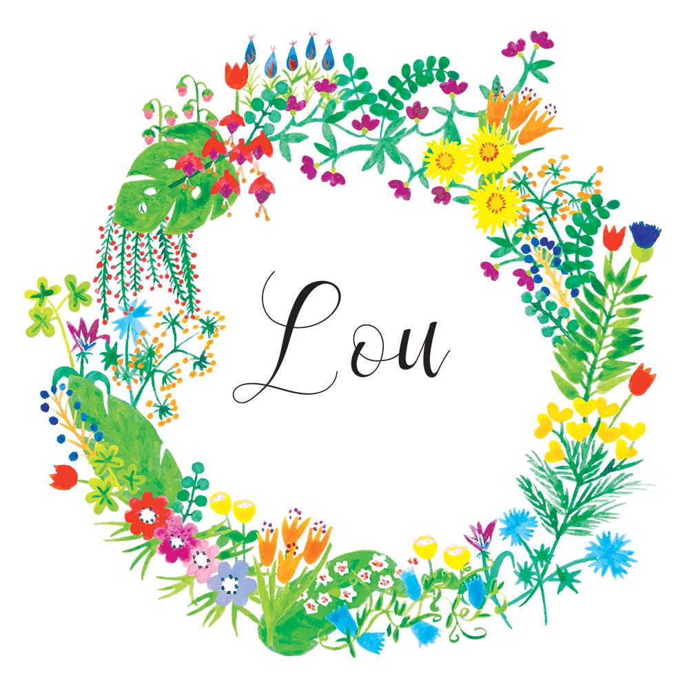 oyeah,marion rousseau,carte,card,Lou,bébé,fille,baby girl,naissance,faire-part,birth announcement,flower,crown,wreath,couronne,fleurs,aquarelle,watercolour,its a girl,printemps,spring,garden